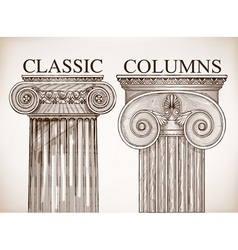 Classical column background set vector image vector image