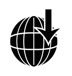 Contour global symbol with arrow down vector