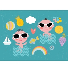 Cool baby on vacation vector