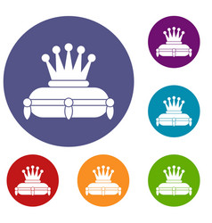 crown king icons set vector image