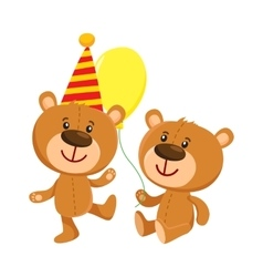 Cute teddy bear characters in birthday cap and vector