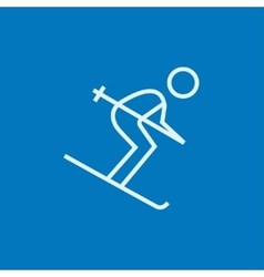 Downhill skiing line icon vector image