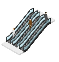 Escalator with People Isometric View vector image