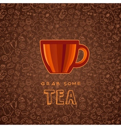 Hand drawn tea and coffee background vector