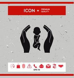 hands holding baby protection symbol vector image