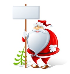 happy santa claus with sign vector image vector image
