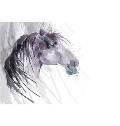 Horse head watercolor painting vector
