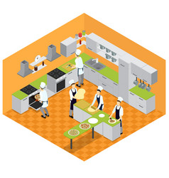 Isometric italian restaurant kitchen concept vector
