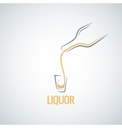 Liquor shot glass bottle background vector