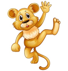 Little lion waving hand vector image vector image