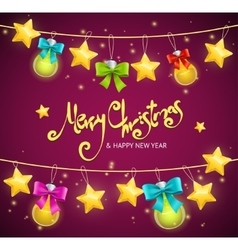 Merry Christmas Background with Garland and Text vector image vector image