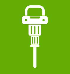Pneumatic hammer icon green vector