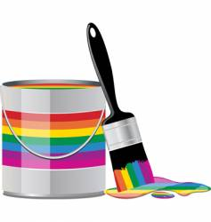 rainbow paint tin vector image