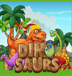 Scene with dinosaurs in the park vector
