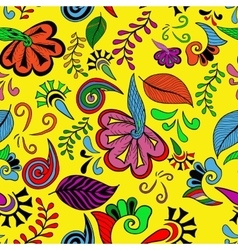 Seamless color abstract hand-drawn doodle pattern vector