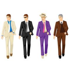 Set of men in different suit vector