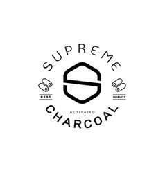 Supreme charcoal guarantee logo with charcoal icon vector