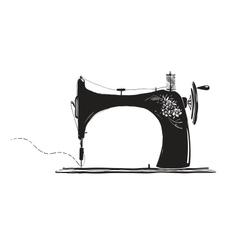 Vintage Sewing Machine Inky vector image