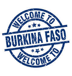 Welcome to burkina faso blue stamp vector