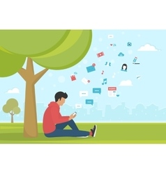 Young man sitting in the park and texting messages vector