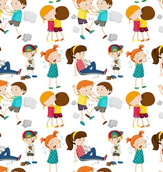 Seamless background with children in different vector