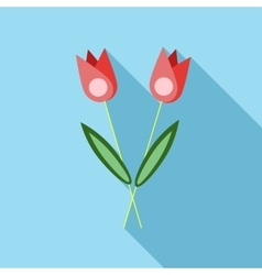 Two flowers on grave icon flat style vector