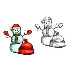 Christmas snowman Santa gift sack sketch vector image