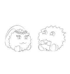 Cute monsters bride and groom coloring book vector