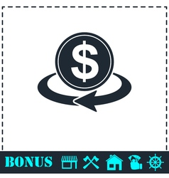 Money transfer icon flat vector