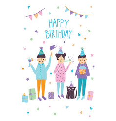 Happy birthday card with funny guests and cat vector