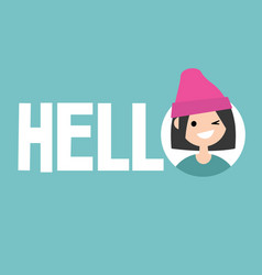 Smiling winking girl says hello conceptual sign vector