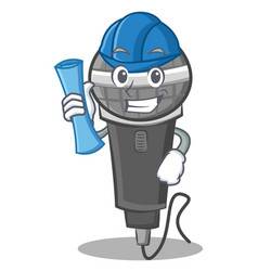 Architect microphone cartoon character design vector