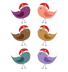 birds in Santa hats vector image