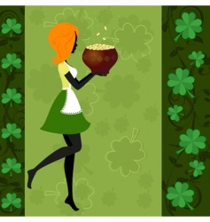 girl pot of gold vector image