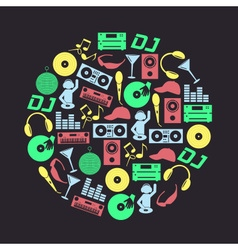 Music club dj color icons set in circle eps10 vector