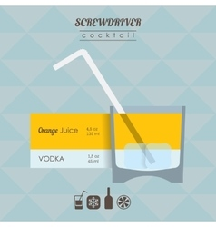 Screwdriver cocktail flat style with vector