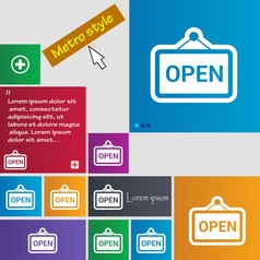 Open icon sign buttons modern interface website vector