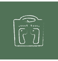 Weighing scale icon drawn in chalk vector