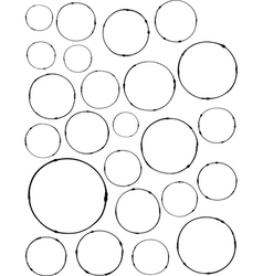 Hand-drawn liquid line circle shapes over white vector