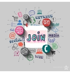Join sign and collage with web icons background vector