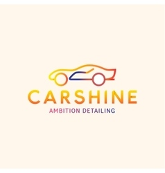 Logo machine car shine line outline mark vector
