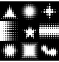 Halftone dotted shapes logo design vector