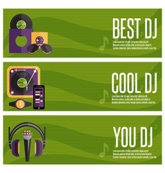 Banners set of dj and music theme vector