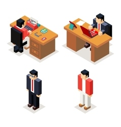 Businessman office workroom with laptop and vector