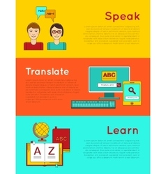Foreign language education online vector