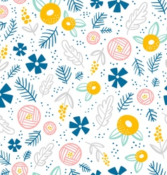 Floral doodle pattern on white vector
