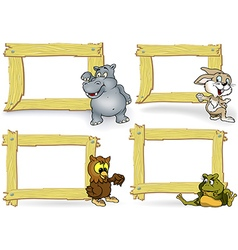 Wood frame with cartoon animal vector