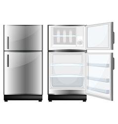 Refridgerator with closed and opened door vector