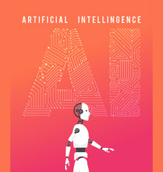 Artificial intelligence ai with high technology vector