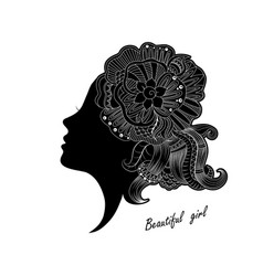 beautiful girl face with ornate vector image vector image